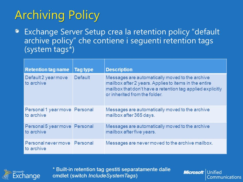 Archiving Policy Exchange Server Setup crea la retention policy default archive policy che contiene i seguenti retention tags (system tags*) Retention tag nameTag typeDescription Default 2 year move to archive DefaultMessages are automatically moved to the archive mailbox after 2 years.