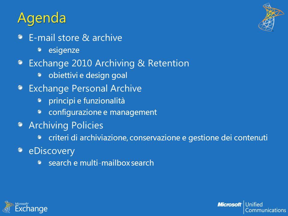 E- MAIL STORE & ARCHIVE Introduzione e obiettivi