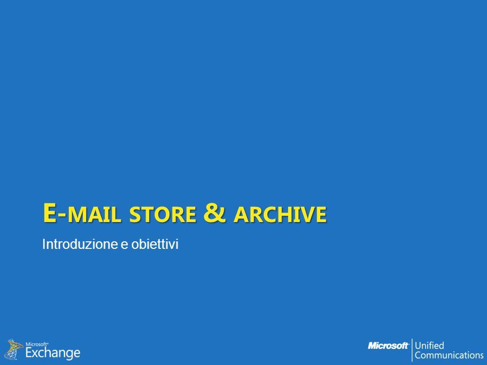 Personal Archive Architettura ed accesso Archive in Exchange 2010 è basato sul concetto di secondary mailbox* La sua configurazione è una proprietà dellutente (in AD) è abilitato by-user cè unassociazione diretta tra user mailbox (primary) e archive ogni utente/mailbox ha al più un solo archive Larchive risiede nello stesso DB della primary mailbox* Lamministratore può imporre quota differenti tra mailbox e archive Larchive è aperto automaticamente da Outlook e OWA architettura assolutamente uniforme tra mailbox e archive nessun problema per accesso interno/esterno/anywhere Non cè offline store per larchive * informazioni relative alla versione RTM