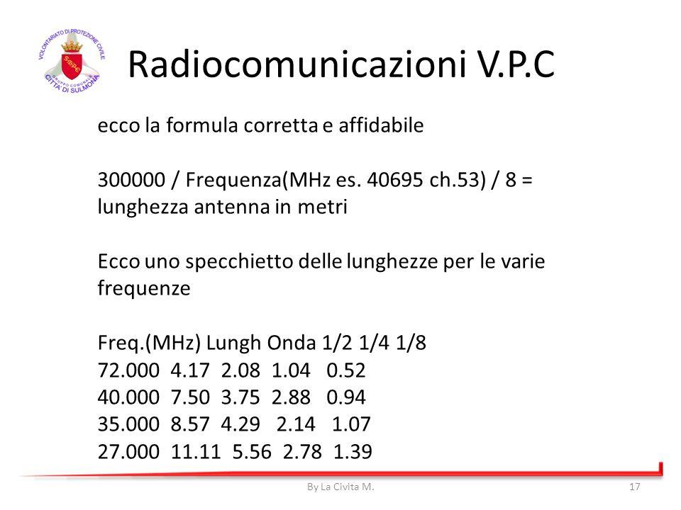 Radiocomunicazioni V.P.C By La Civita M.17 ecco la formula corretta e affidabile 300000 / Frequenza(MHz es. 40695 ch.53) / 8 = lunghezza antenna in me