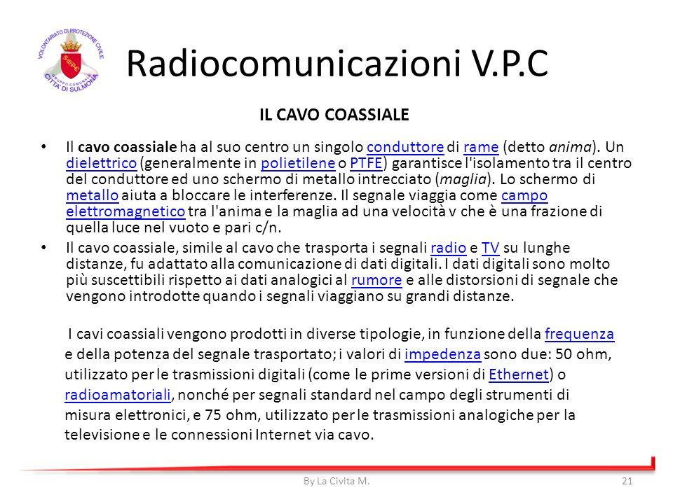 Radiocomunicazioni V.P.C Il cavo coassiale ha al suo centro un singolo conduttore di rame (detto anima). Un dielettrico (generalmente in polietilene o