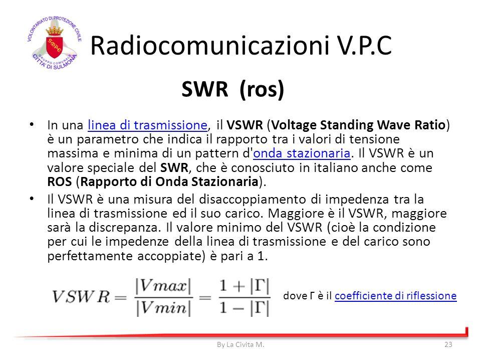 Radiocomunicazioni V.P.C In una linea di trasmissione, il VSWR (Voltage Standing Wave Ratio) è un parametro che indica il rapporto tra i valori di ten