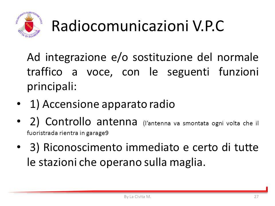 Ad integrazione e/o sostituzione del normale traffico a voce, con le seguenti funzioni principali: 1) Accensione apparato radio 2) Controllo antenna (