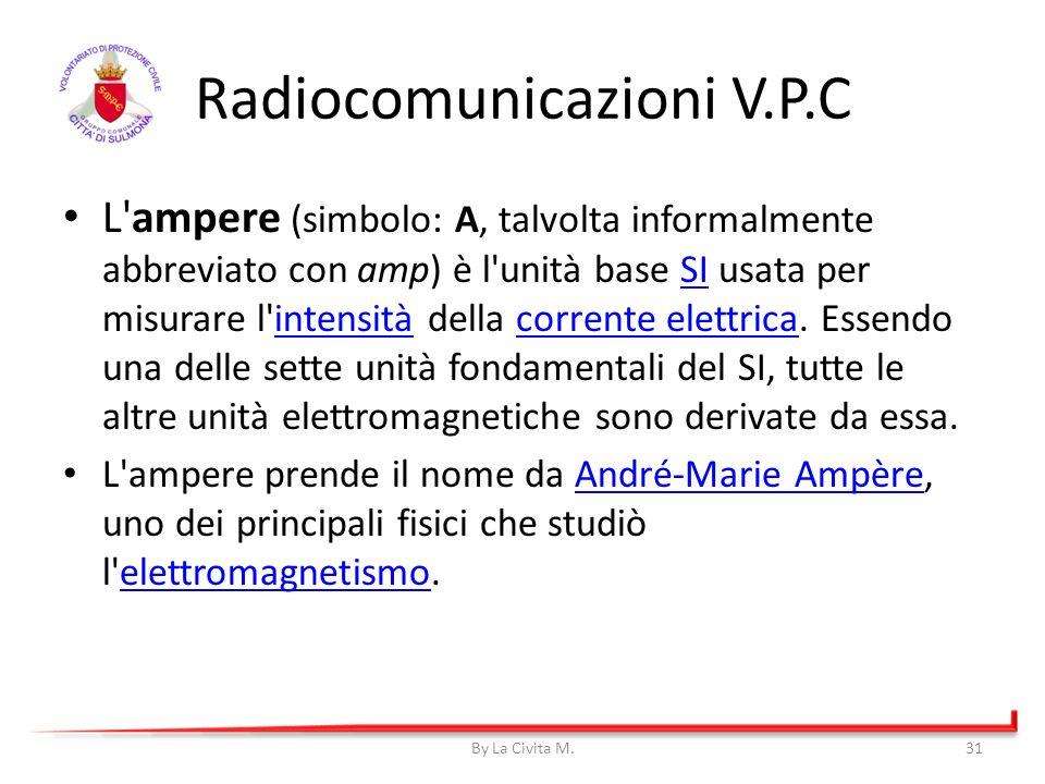 By La Civita M.31 Radiocomunicazioni V.P.C L'ampere (simbolo: A, talvolta informalmente abbreviato con amp) è l'unità base SI usata per misurare l'int
