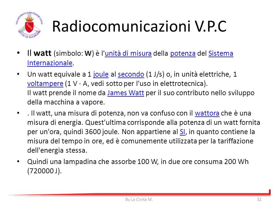 Il watt (simbolo: W) è l'unità di misura della potenza del Sistema Internazionale.unità di misurapotenzaSistema Internazionale Un watt equivale a 1 jo