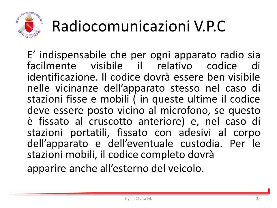 E indispensabile che per ogni apparato radio sia facilmente visibile il relativo codice di identificazione. Il codice dovrà essere ben visibile nelle