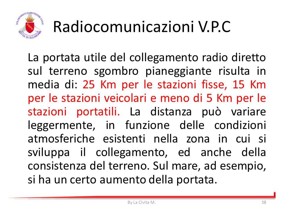 Radiocomunicazioni V.P.C La portata utile del collegamento radio diretto sul terreno sgombro pianeggiante risulta in media di: 25 Km per le stazioni f