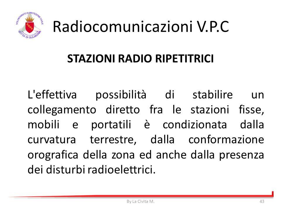Radiocomunicazioni V.P.C STAZIONI RADIO RIPETITRICI L'effettiva possibilità di stabilire un collegamento diretto fra le stazioni fisse, mobili e porta