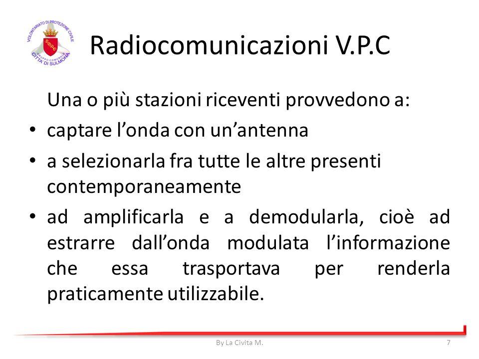 Radiocomunicazioni V.P.C Una o più stazioni riceventi provvedono a: captare londa con unantenna a selezionarla fra tutte le altre presenti contemporan