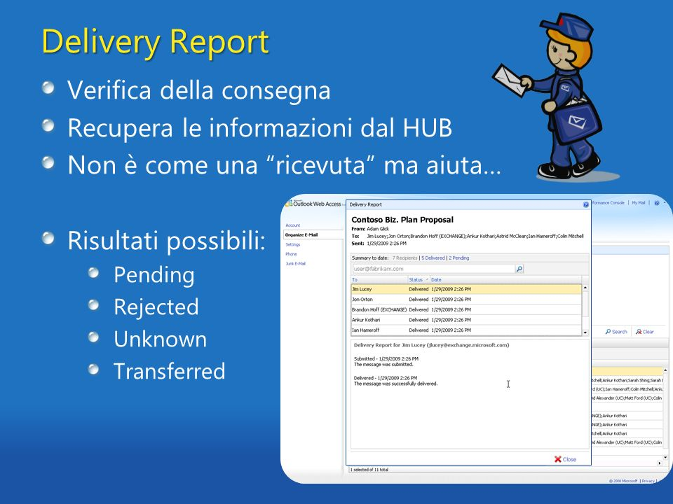 Delivery Report Verifica della consegna Recupera le informazioni dal HUB Non è come una ricevuta ma aiuta… Risultati possibili: Pending Rejected Unkno