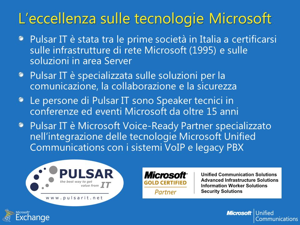 Agenda Architettura I servizi offerti RPC Client Access Outlook Web App Microsoft Server ActiveSync Exchange Web Services Autodiscover Outlook Anywhere Exchange UM services Offline Address Book Out Of Office EWS In Sintesi Risorse