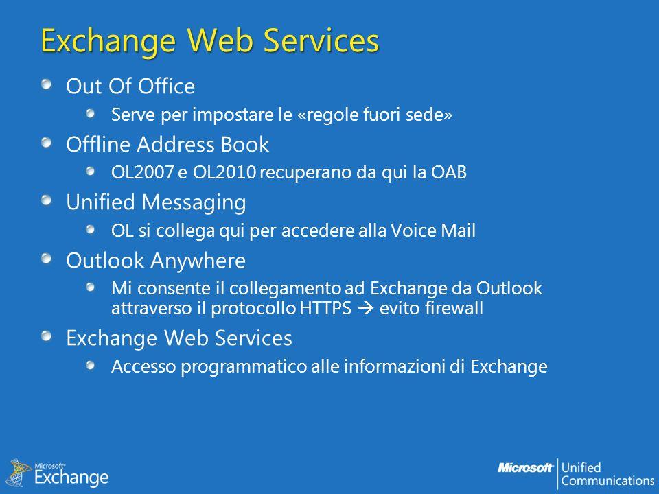 Exchange Web Services Out Of Office Serve per impostare le «regole fuori sede» Offline Address Book OL2007 e OL2010 recuperano da qui la OAB Unified M