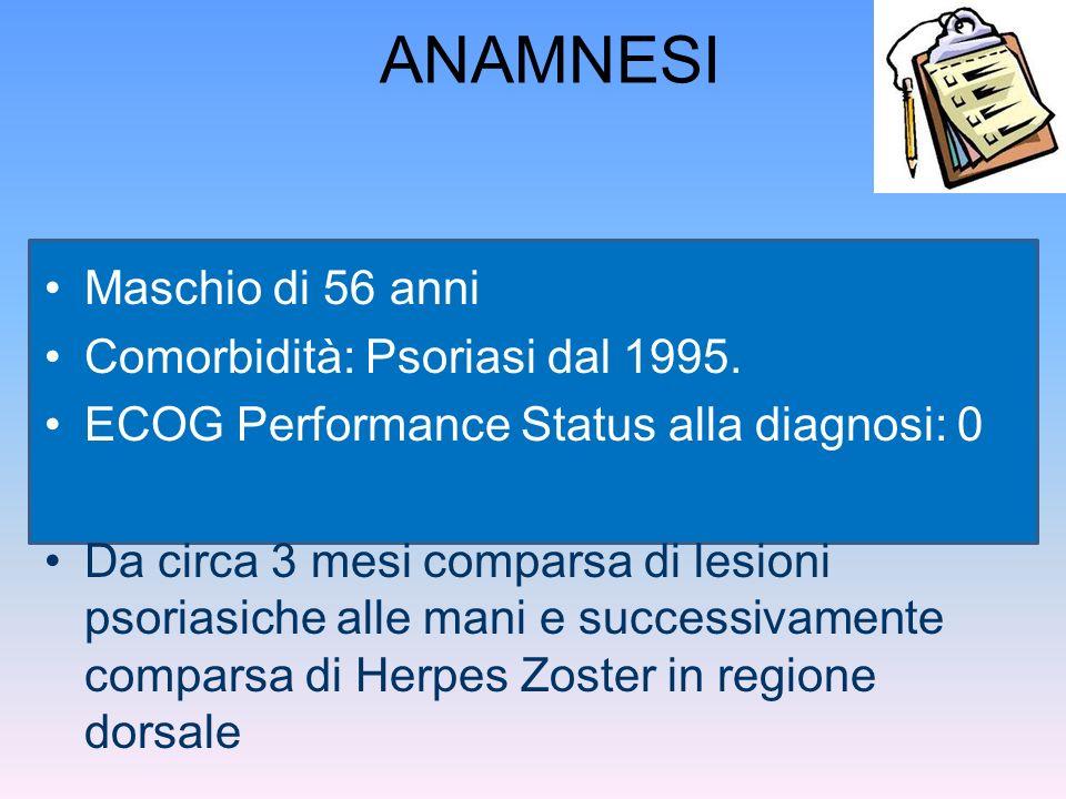ANAMNESI Maschio di 56 anni Comorbidità: Psoriasi dal 1995. ECOG Performance Status alla diagnosi: 0 Da circa 3 mesi comparsa di lesioni psoriasiche a