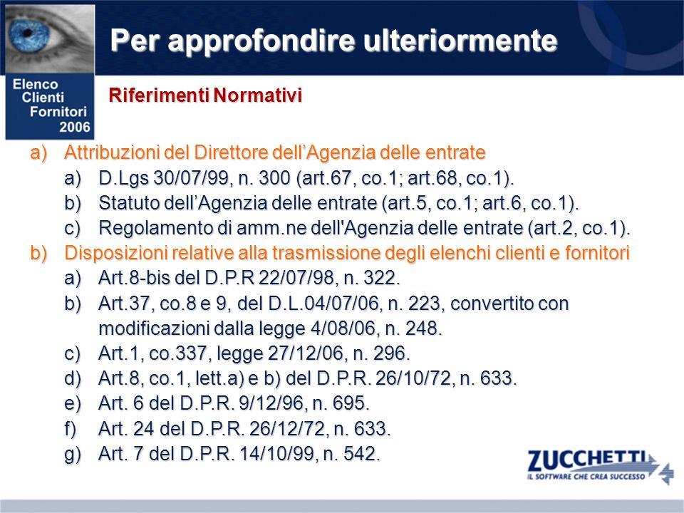 Per approfondire ulteriormente a)Attribuzioni del Direttore dellAgenzia delle entrate a)D.Lgs 30/07/99, n. 300 (art.67, co.1; art.68, co.1). b)Statuto