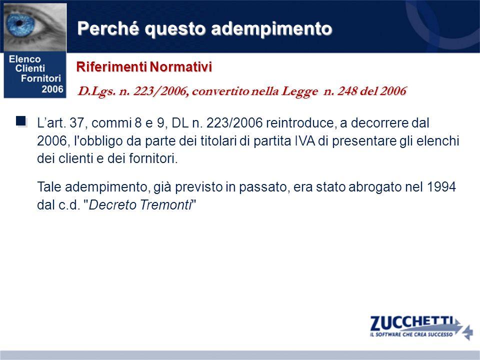 Perché questo adempimento Lart. 37, commi 8 e 9, DL n. 223/2006 reintroduce, a decorrere dal 2006, l'obbligo da parte dei titolari di partita IVA di p