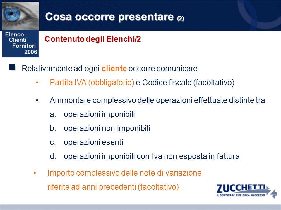 Cosa occorre presentare (2) Relativamente ad ogni cliente occorre comunicare: Contenuto degli Elenchi/2 Partita IVA (obbligatorio) e Codice fiscale (f