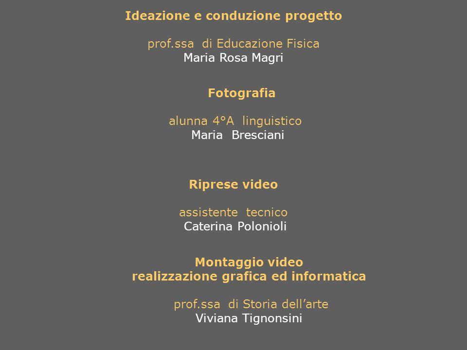 Ideazione e conduzione progetto prof.ssa di Educazione Fisica Maria Rosa Magri Fotografia alunna 4°A linguistico Maria Bresciani Riprese video assiste