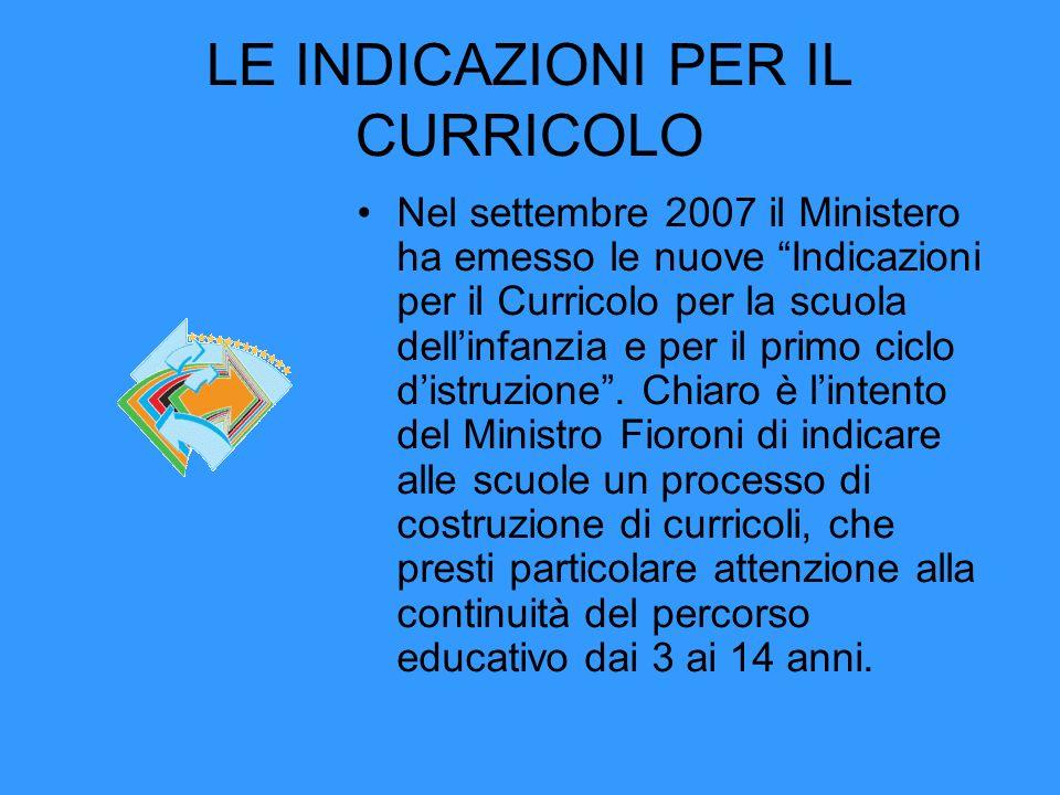 LE INDICAZIONI PER IL CURRICOLO Nel settembre 2007 il Ministero ha emesso le nuove Indicazioni per il Curricolo per la scuola dellinfanzia e per il primo ciclo distruzione.