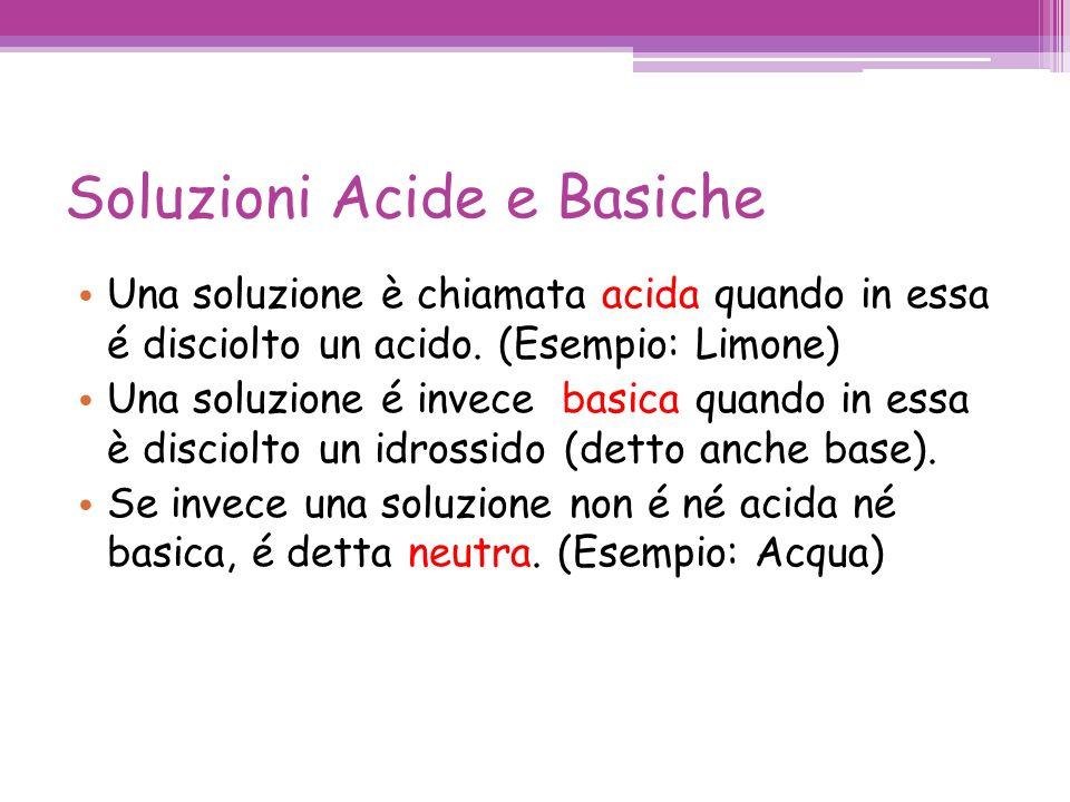Soluzioni Acide e Basiche Una soluzione è chiamata acida quando in essa é disciolto un acido. (Esempio: Limone) Una soluzione é invece basica quando i