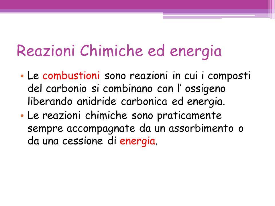 Reazioni Chimiche ed energia Le combustioni sono reazioni in cui i composti del carbonio si combinano con l ossigeno liberando anidride carbonica ed energia.