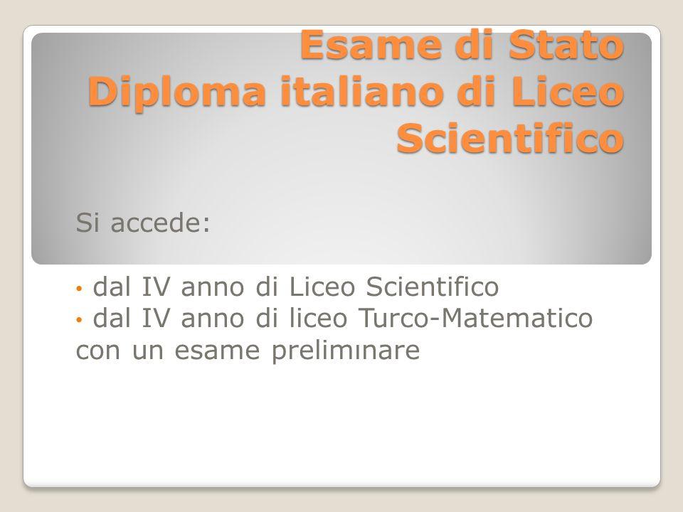 Esame di Stato Diploma italiano di Liceo Scientifico Si accede: dal IV anno di Liceo Scientifico dal IV anno di liceo Turco-Matematico con un esame prelimınare