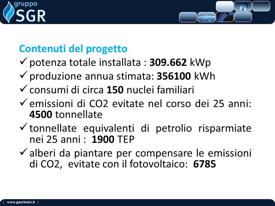 Contenuti del progetto potenza totale installata : 309.662 kWp produzione annua stimata: 356100 kWh consumi di circa 150 nuclei familiari emissioni di CO2 evitate nel corso dei 25 anni: 4500 tonnellate tonnellate equivalenti di petrolio risparmiate nei 25 anni : 1900 TEP alberi da piantare per compensare le emissioni di CO2, evitate con il fotovoltaico: 6785