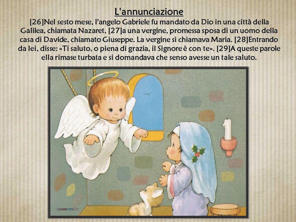 [30]L'angelo le disse: «Non temere, Maria, perché hai trovato grazia presso Dio. [31]Ecco concepirai un figlio, lo darai alla luce e lo chiamerai Gesù