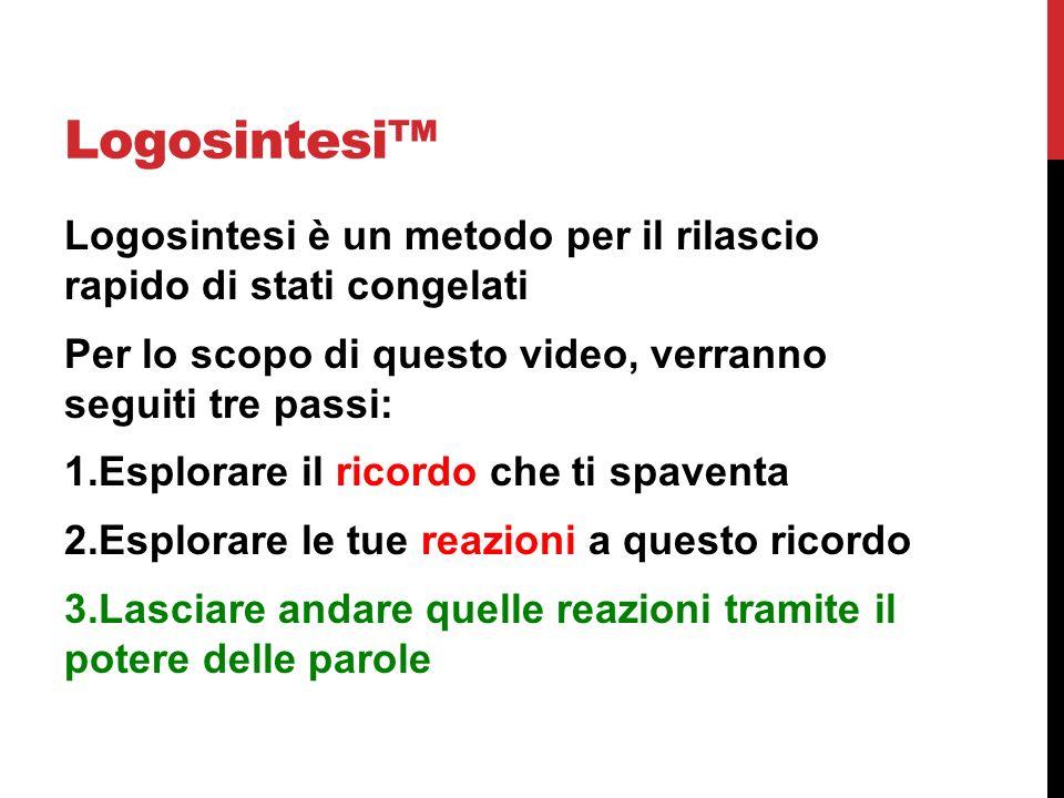 Logosintesi Logosintesi è un metodo per il rilascio rapido di stati congelati Per lo scopo di questo video, verranno seguiti tre passi: 1.Esplorare il