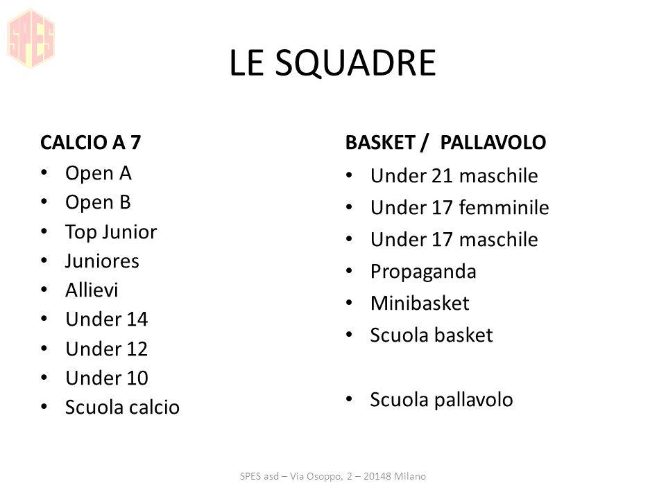 LE SQUADRE CALCIO A 7 Open A Open B Top Junior Juniores Allievi Under 14 Under 12 Under 10 Scuola calcio BASKET / PALLAVOLO Under 21 maschile Under 17