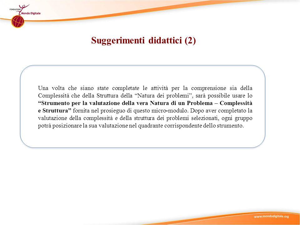 Suggerimenti didattici (2) Una volta che siano state completate le attività per la comprensione sia della Complessità che della Struttura della Natura