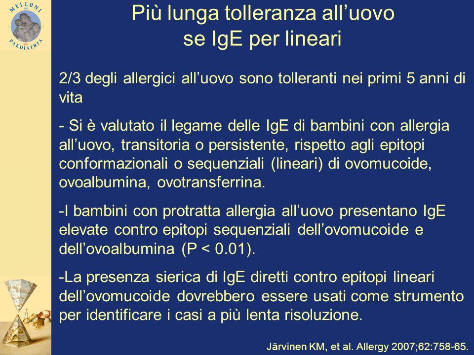 Più lunga tolleranza alluovo se IgE per lineari 2/3 degli allergici alluovo sono tolleranti nei primi 5 anni di vita - Si è valutato il legame delle I