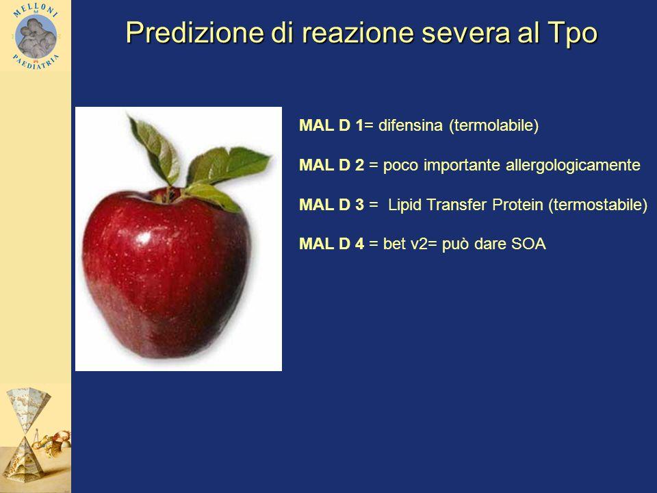 MAL D 1= difensina (termolabile) MAL D 2 = poco importante allergologicamente MAL D 3 = Lipid Transfer Protein (termostabile) MAL D 4 = bet v2= può da