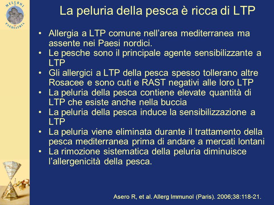La peluria della pesca è ricca di LTP Allergia a LTP comune nellarea mediterranea ma assente nei Paesi nordici. Le pesche sono il principale agente se