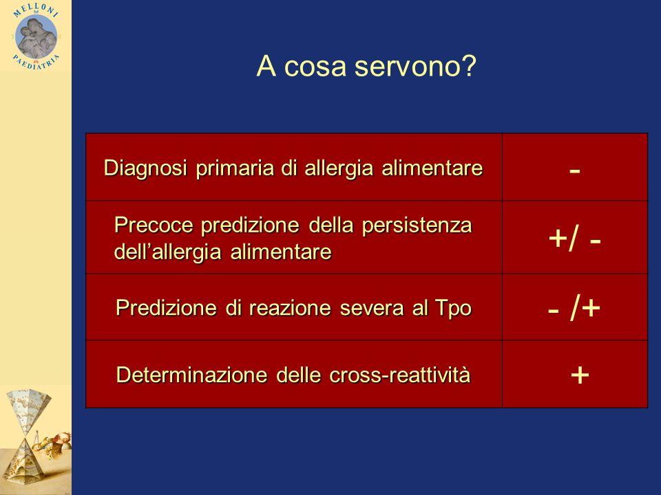 A cosa servono? Diagnosi primaria di allergia alimentare - Precoce predizione della persistenza dellallergia alimentare +/ - Predizione di reazione se