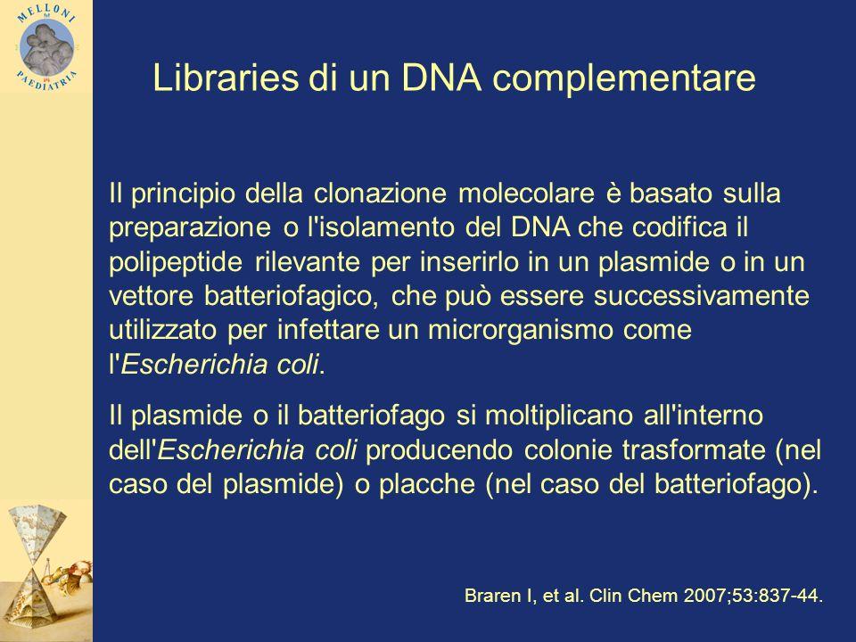 Libraries di un DNA complementare Il principio della clonazione molecolare è basato sulla preparazione o l'isolamento del DNA che codifica il polipept