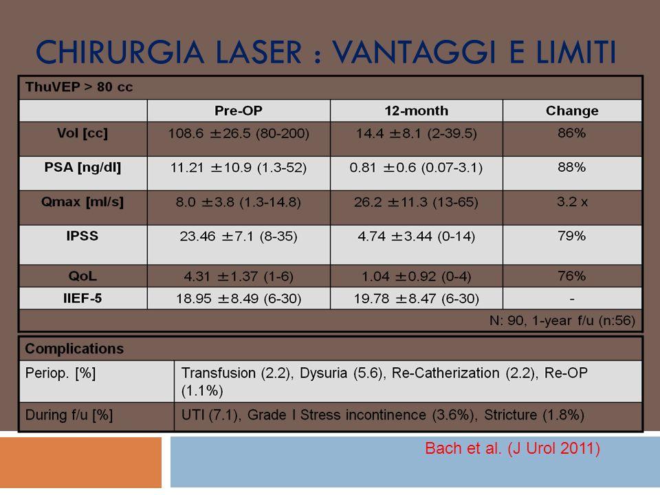 CHIRURGIA LASER : VANTAGGI E LIMITI Bach et al. (J Urol 2011)