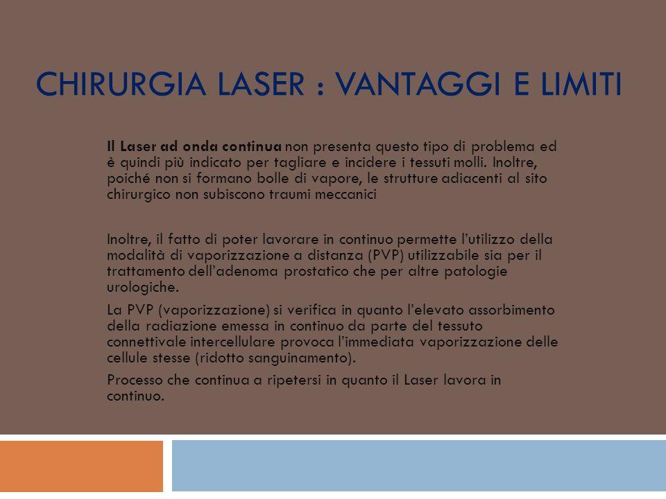 CHIRURGIA LASER : VANTAGGI E LIMITI Il Laser ad onda continua non presenta questo tipo di problema ed è quindi più indicato per tagliare e incidere i