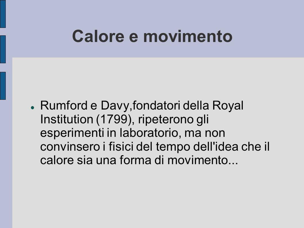 Calore e movimento Rumford e Davy,fondatori della Royal Institution (1799), ripeterono gli esperimenti in laboratorio, ma non convinsero i fisici del