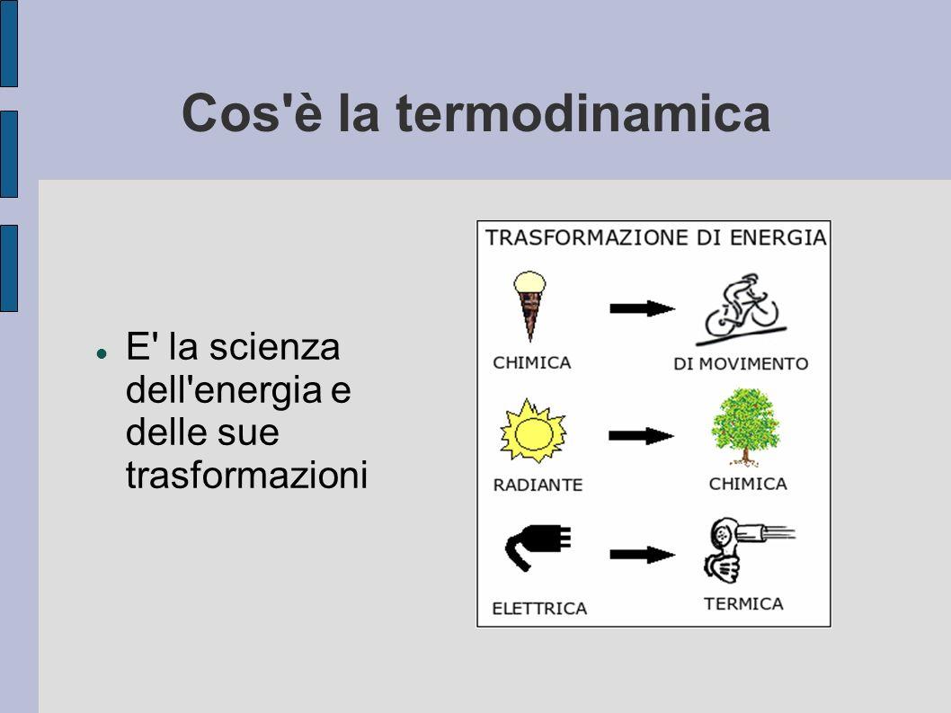 Cos'è la termodinamica E' la scienza dell'energia e delle sue trasformazioni