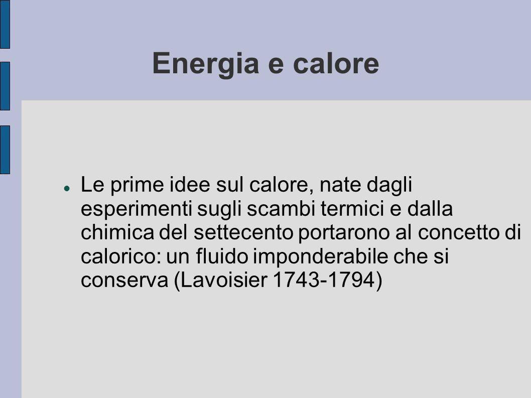 Energia e calore Le prime idee sul calore, nate dagli esperimenti sugli scambi termici e dalla chimica del settecento portarono al concetto di caloric