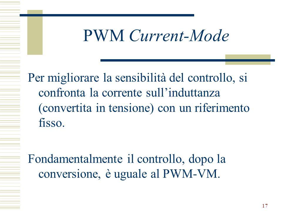 17 PWM Current-Mode Per migliorare la sensibilità del controllo, si confronta la corrente sullinduttanza (convertita in tensione) con un riferimento fisso.