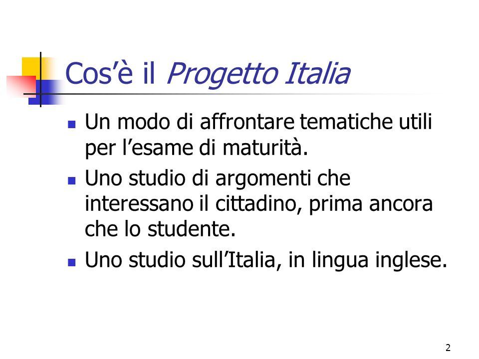 2 Cosè il Progetto Italia Un modo di affrontare tematiche utili per lesame di maturità.