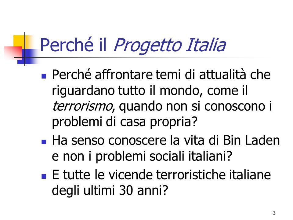 3 Perché il Progetto Italia Perché affrontare temi di attualità che riguardano tutto il mondo, come il terrorismo, quando non si conoscono i problemi di casa propria.
