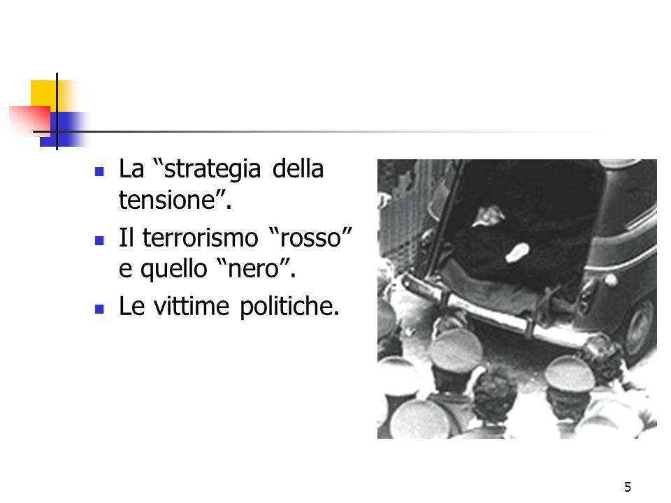 5 La strategia della tensione. Il terrorismo rosso e quello nero. Le vittime politiche.