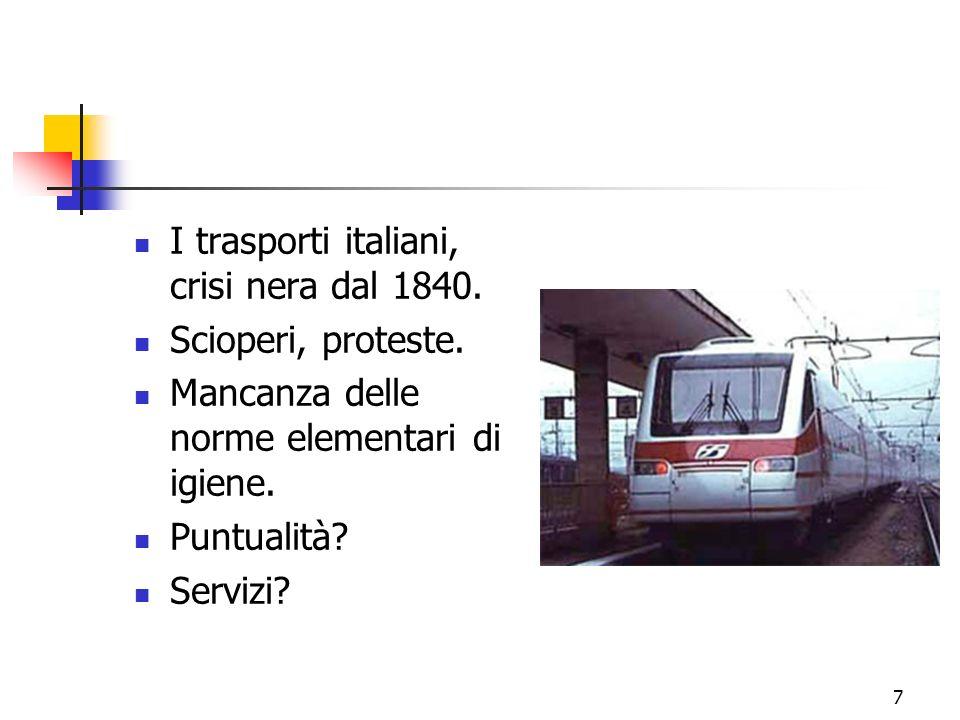 7 I trasporti italiani, crisi nera dal 1840. Scioperi, proteste.