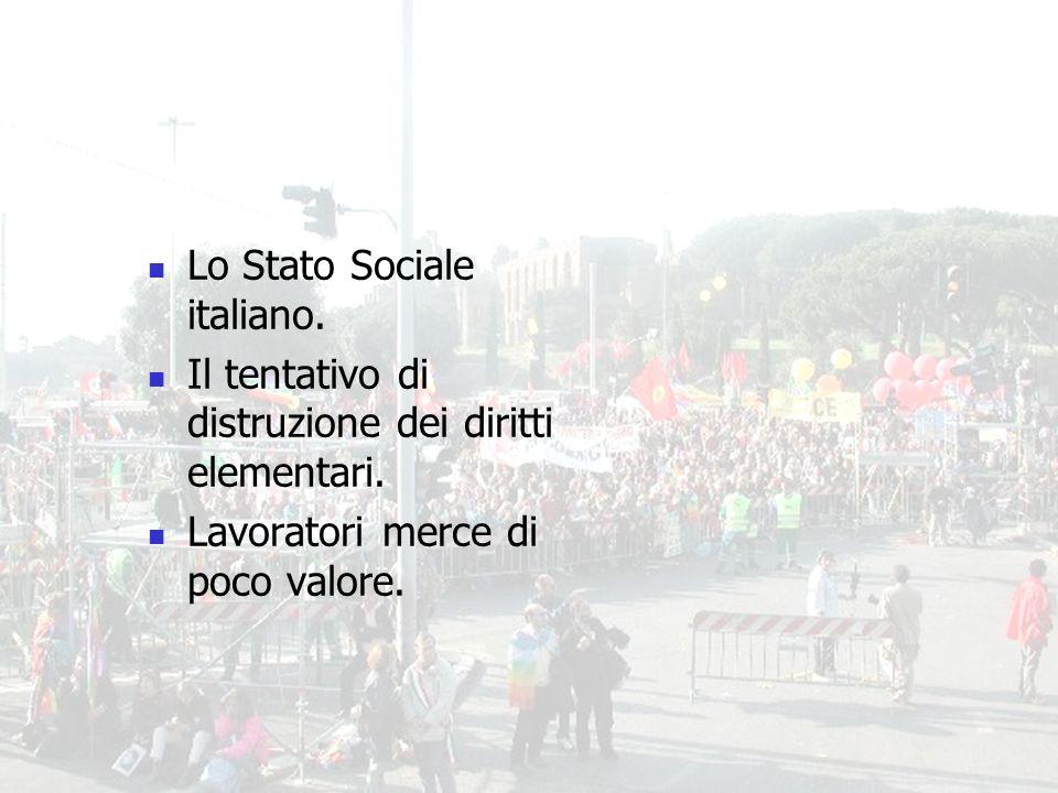 9 Lo Stato Sociale italiano. Il tentativo di distruzione dei diritti elementari.