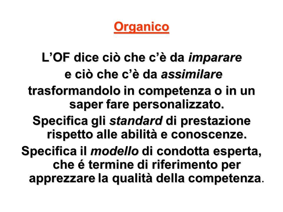 Organico LOF dice ciò che cè da imparare e ciò che cè da assimilare e ciò che cè da assimilare trasformandolo in competenza o in un saper fare persona