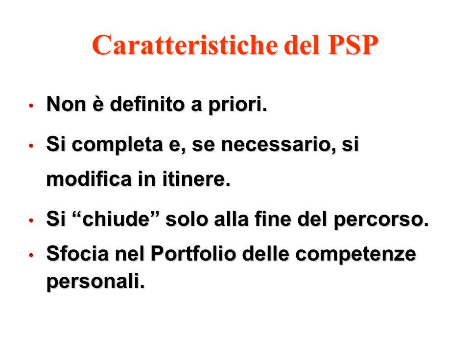 Caratteristiche del PSP Non è definito a priori. Non è definito a priori. Si completa e, se necessario, si modifica in itinere. Si completa e, se nece