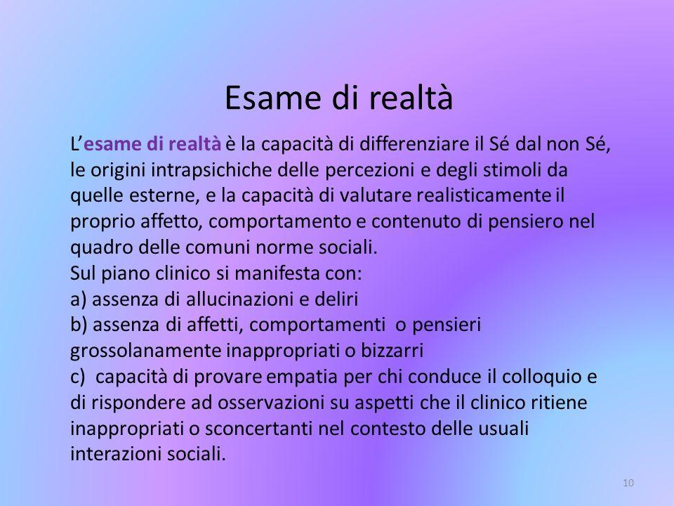 10 Esame di realtà Lesame di realtà è la capacità di differenziare il Sé dal non Sé, le origini intrapsichiche delle percezioni e degli stimoli da que