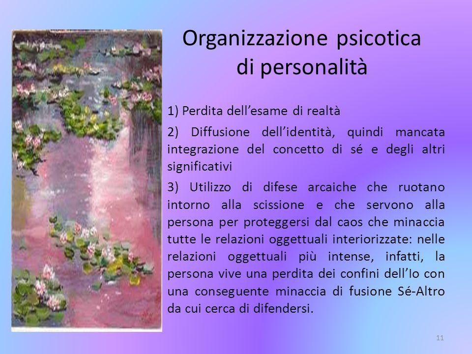 11 1) Perdita dellesame di realtà 2) Diffusione dellidentità, quindi mancata integrazione del concetto di sé e degli altri significativi 3) Utilizzo d